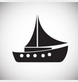 boat with sail on white background vector image