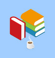 books and a cup of coffee on a blue background vector image