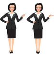 business woman in two different positions vector image vector image