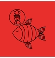 cartoon chef gourmet fresh fish vector image vector image