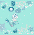 childish print cute mermaid seashells marine vector image vector image