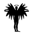christmas angel black silhouette icon symbol vector image