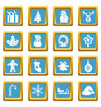 christmas icons azure vector image vector image