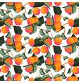 citrus mandarin fruit seamless pattern vector image