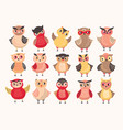 collection cute colorful owls decorated vector image vector image