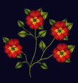 colorful pansy flowers plant set embroidery in vector image vector image