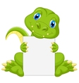 Cute dinosaur cartoon holding blank sign