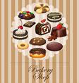 Diverse dessert on banner vector image vector image