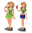 Fat girl with pie and slim after sport and diet vector image