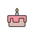 first birthday cake flat color icon vector image