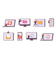 flat cyber thief and hacker characters stealing vector image
