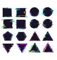 glitch black frames different shape distorted vector image