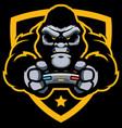 gorilla gamer mascot vector image vector image