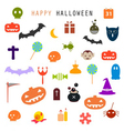 halloween flat icons set vector image