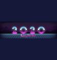 happy new year 2020 banner in 80s digital retro vector image vector image