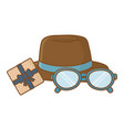 hat with glasses and gift box vector image vector image