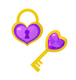heart lock and heart key icon flat design vector image vector image