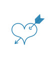 heart with arrow tattoo symbol love linear vector image vector image