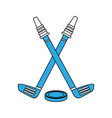 hockey sticks and puck vector image