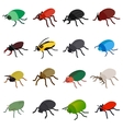 Insect bug icons set isometric 3d style vector image vector image