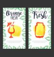 orange fresh juice banner template set sweet vector image vector image