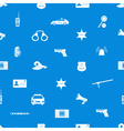 police icons blue and white seamless pattern eps10 vector image