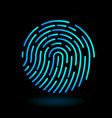 round icon fingerprint - symbol of finger in line vector image