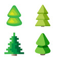 set of 3d fir trees vector image vector image