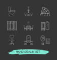 set of design icons line style symbols with office vector image