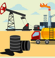 spilled petroleum barrels truck and refinery plant vector image vector image