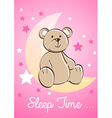 Teddy bear sitting on a moon with stars vector image vector image