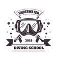 underwater diving school 2018 logotype with mask vector image vector image