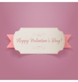 Valentines Day white Banner with pink Ribbon vector image