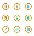 waste icons set cartoon style vector image vector image