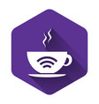 white cup coffee shop with free wifi zone icon vector image vector image
