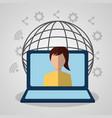 woman laptop internet gobal connection digital vector image vector image