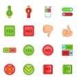 Yes no icons set cartoon style vector image vector image