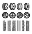 car tires and track traces isolated icons vector image