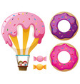 candy balloon and donuts vector image
