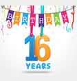 16 years birthday celebration greeting card design vector image vector image