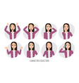 asian woman in office suit set of emotions and vector image vector image