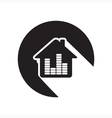 black icon - house with equalizer vector image vector image