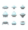 cartoon alien spaceship or ufo ship set vector image