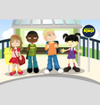 children at bus stop vector image vector image