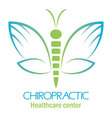 Chiropractic clinic logo with butterfly symbol of vector image vector image