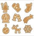 Christmas cookie icons set vector image