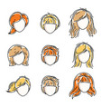 collection women faces human heads diverse vector image vector image