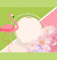 colorful card template with cartoon pink flamingo vector image vector image