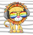 cute lion with sun glasses vector image