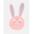 Cute pink bunny in simple childish style